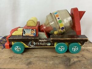 Vintage Scarce Fisher Price Concrete Mixer #929 Wooden Pull Toy Works