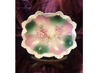 Vintage Hand Painted RS Prussia Dish Pink & Green Floral Pedestal Bowl