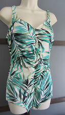 Swimsuit Bathing Suit One Piece XL 14 16 Aqua Blue Green White by Paradise Bay