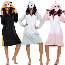 Vestaglia donna intimo eco pelliccia camicia da notte pelo cappuccio L2201