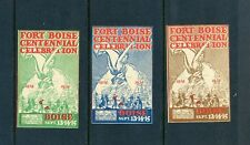 3 VINTAGE 1934 FORT BOISE CENTENNIAL  POSTER STAMPS (L421) IDAHO HISTORY *FRESH*