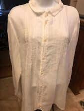 "CP Shades ""The Shirt"" Pleated White Linen Long Sleeve Button Down Tunic Top XL"