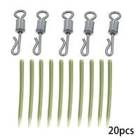 20pc Carp Fishing End Tackle lead clips Quick Change swivels Sleeves Anti P9W9
