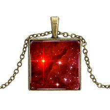 Vintage Style Bronze Chain Pendant Red Galaxy Space Square Elegant NecklaceN439