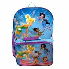"Backpack 16"" + Detachable Lunch Bag TINKERBELL Fairies Friends Blue NWT"