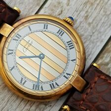 Must de Cartier Tank 30 mm Trinity dial gold plated over 925 silver Vermeil