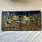 Vintage P&C Italian Woven Velvet Peacock Tapestry Wall Hanging Size 38in x 19in
