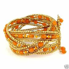 Bracelet Wide Cuff Memory Wire Hand Beaded Orange Gold Beads Fashion Jewelry