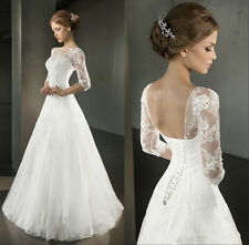 New Stock Appliques Half Sleeves White/Ivory Wedding Dress Stock Size 6 to 20