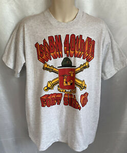 """VINTAGE 1ST BN 40TH FA, FORT SILL OK """"ALL FOR ONE"""" GRAY T-SHIRT, XL, VGC    BA13"""