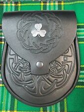 Black Embossed Leather Irish Shamrock Badge Sporran for Kilts w/ Chain Belt
