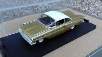 QUARTZO DIECAST 1/43 1959 GOLD CHEVROLET CHEVY IMPALA 4in Diecast Model Boxed