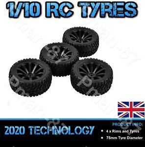 PREMIUM 1/10 On Road Soft Tread Nitro Car RC Wheel and Tire Tyre x 4 75mm