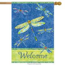 "Dragonfly Flight Welcome House Flag Summer Dragonflies 28"" x 40"" Rain or Shine"