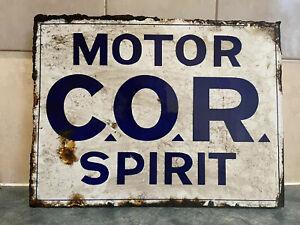 COR MOTOR SPIRIT DOUBLE SIDED POST MOUNT ENAMEL SIGN