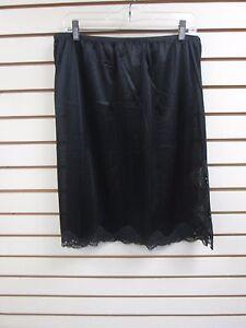 "Ventura Plus Size Nylon Half Slip 25"" Long - 3X BLACK (Side Slit) #4743 - NEW"