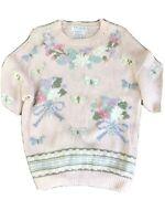 Pink vintage cottagecore hand knit floral sweater size Large