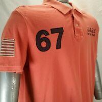 Ralph Lauren Polo Jeans Golf Shirt Orange Rugby Mens 90s XL 67 Sailing EUC
