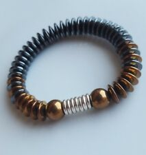 Copper electroplated, Hematite & sterling silver Links Of London rings Bracelet