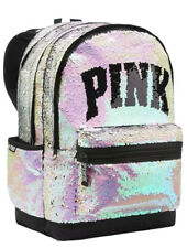 Victoria's Secret PINK Campus Backpack Bling Iridescent Sequin Book Bag NWT