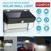 262 LED Solar Power Motion Sensor Wall Light Outdoor Garden Path Lamp Waterproof