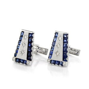 14k Yellow Gold Plated Diamond Cuff links Sapphire Silver Full Cut Men's Jewelry