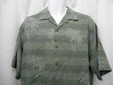 Mens Tommy Bahama 100% Silk Green Hawaiian Camp Shirt Palm Trees sz M