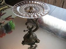 ANTIQUE  BRONZED CHERUB SIGNED VAL ST LAMBERT ART  GLASS TAZZA/CALLING CARD TRAY