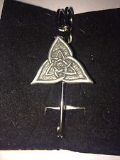 """CELTIC TRIANGLE DR55 Scarf , Brooch and Kilt Pin Pewter 3""""  7.5 cm"""
