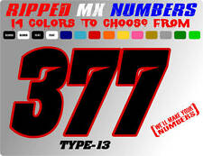 RIPPED 2 COLOR MX NUMBER PLATE DECALS MOTORCYCLE GRAPHIC STICKERS CAR RACING RC
