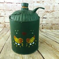vtg galvanized can country farmhouse Green folk art w cork stopper watering can