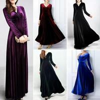 Women Lady Elegant Dress Long-Sleeves V-Neck Velvet Bodycon Cocktail Party Dress