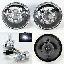 "7"" Round BK/CM Glass Projector Headlight Conversion w/ 6K 36W LED H4 Bulbs Dodge"