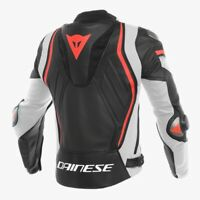 Dainese Men's Assen Perforated Leather Motorcycle Biker Jacket Black/white/Red