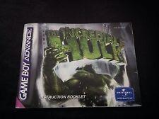 L'INCREDIBILE HULK Nintendo Gameboy Advance GBA * Libretto di Istruzioni Solo *