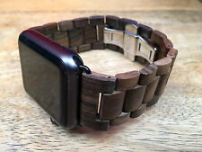 Zebra Wooden Link Bracelet Butterfly Lock Watch band Strap for Apple Watch 42mm