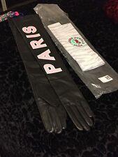 Kenzo x H&M Long Leather Gloves Black Pink Logo Sz M NWT