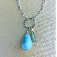 U&C Sundance Blue Larimar & Green Labradorite .925 Silver Circle Life Necklace