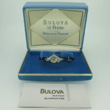 Vintage Bulova M2 5AD 23J 14k Solid White Gold Ladies Watch with Original Box