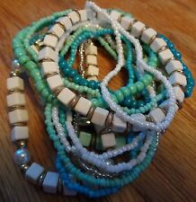 Set of 15 Turquoise Stones & Pearls Stretch Beaded Bracelets New without Tags