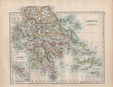 1902 Mappa ~Grecia~ Morea Arcadia Cyclades Laconia Larissa