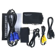 Composite TV RCA S-Video AV In To VGA LCD Out Adapter Converter Box Laptop PC