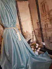 """NEW! Sublime Huge Classic Taffeta Silk Baby Blue 90""""D52""""W Interlined Curtains"""