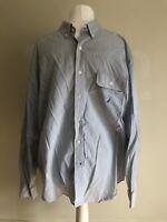 Nautica White & Blue Stripe 100% Cotton A Bit Trimmer Long Sleeve Shirt XXL VGC