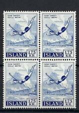 Iceland 1957 Sc# 301 Diving sport (engraved) block 4 MNH