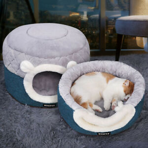 Cat Dual-Use Sleeping Bed House Soft Plush Kennel Puppy Cushion Winter Warm New