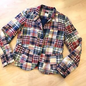 J CREW Madras Plaid Blazer Jacket M 10 Medium Cotton Patchwork Lined