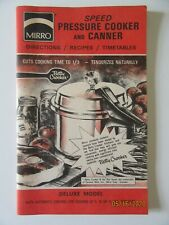 MIRRO Speed Pressure Cooker And Canner Directions Recipes Timetables Book