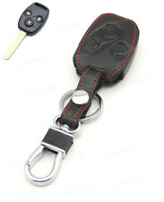 Leather Case Cover Holder For Honda Accord Civic CRV 3 Buttons 4 Remote Key New