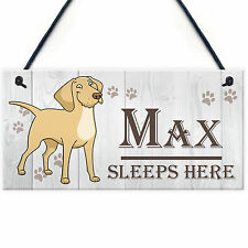Cute Pet Dog Sign 'Sleeps Here' - Personalised Kennel Bed Hanging Sign 20x10cm